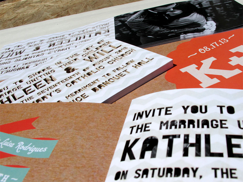 Laser cut font cutouts wedding invitation booklet showing back and front covers close up of laser cut letters
