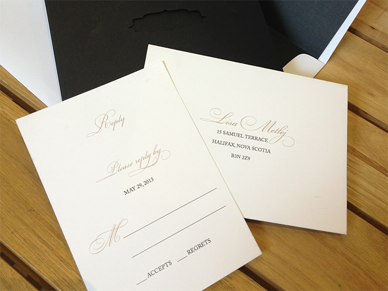 Custom chantilli lace laser cut reply cards