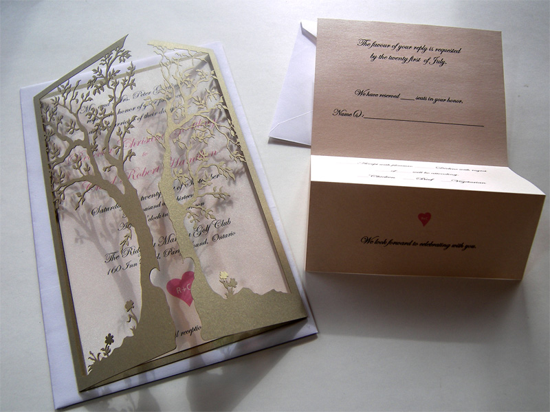 Ornate love tree laser cut wedding invitation and reply card with both sides closed and reply card open