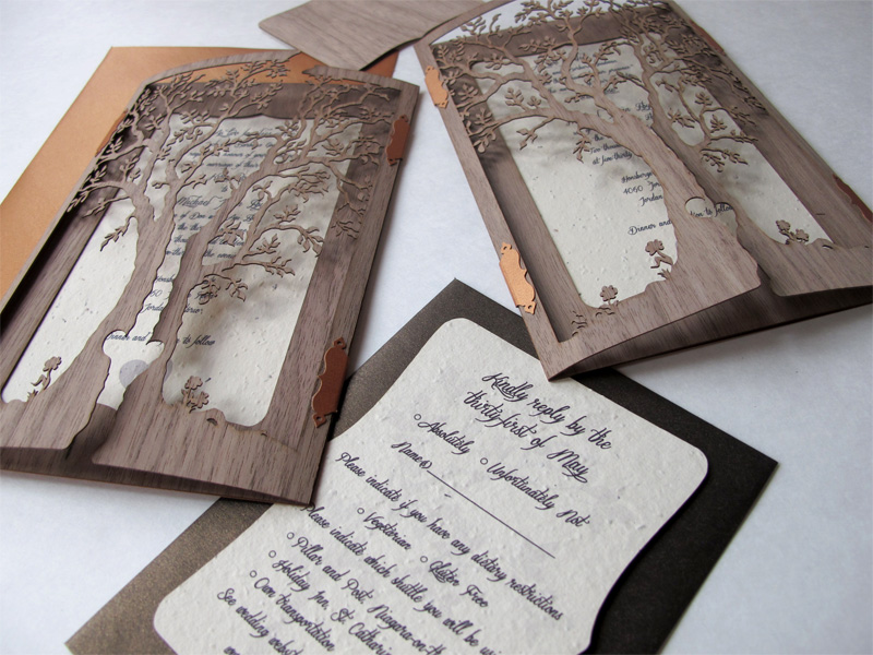 Two 'Love Tree' Walnut wood laser cut invites and reply card