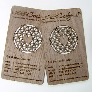 Laser cut walnut wood custom business card