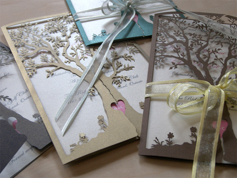 Love Tree laser cut wedding invitations and reply cards